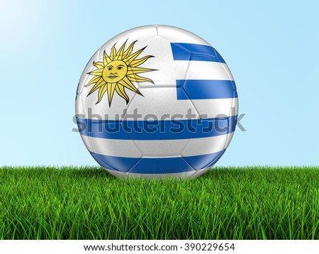 Soccer football with Uruguayan flag. Image with clipping path - stock photo