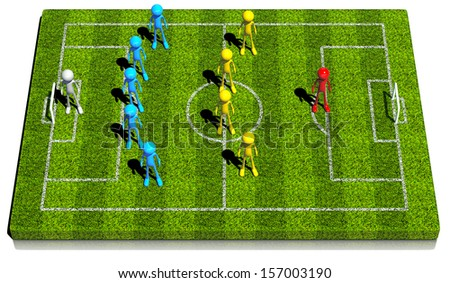Soccer formation five - four - one. This strategy has one forward center. 3d rendered on white background. - stock photo