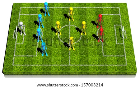 Soccer formation four - four - two. This strategy has one offensive center midfielder and one defensive center midfielder . 3d rendered on white background. - stock photo