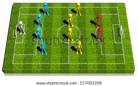 Soccer formation four - four - two. This strategy has two center midfielder. 3d rendered on white background. - stock photo