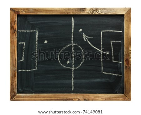 Soccer formation tactics on a blackboard. isolated on white - stock photo