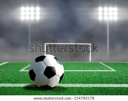 Soccer Free Kick with Spotlights and Smokes