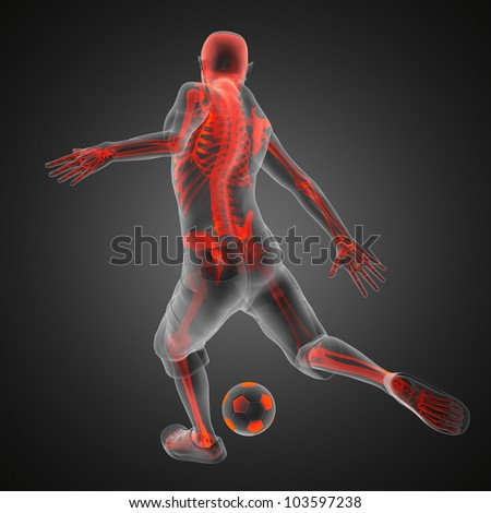 soccer game player made in 3D - stock photo