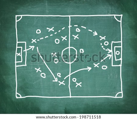 Soccer game strategy on a blackboard.