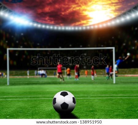 Soccer gamers on the soccer stadium - stock photo