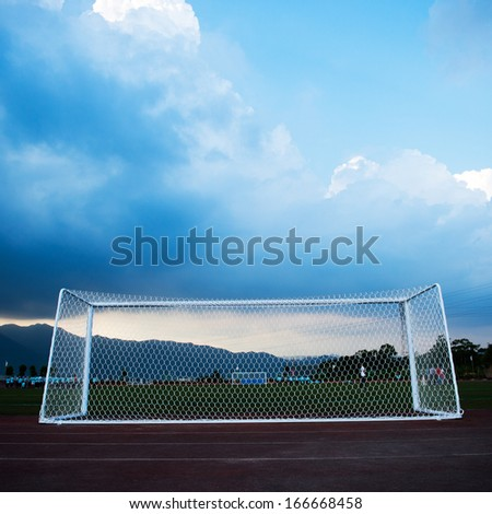 Soccer goal at the stadium soccer field. - stock photo