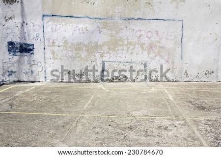 Soccer goal drawn on a wall on concrete playground in Corniglia, Italy - stock photo