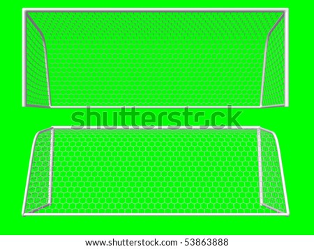 soccer goal front/back view isolated on green background