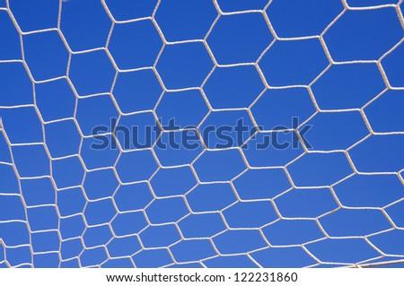 Soccer goal net in soccer stadium. - stock photo