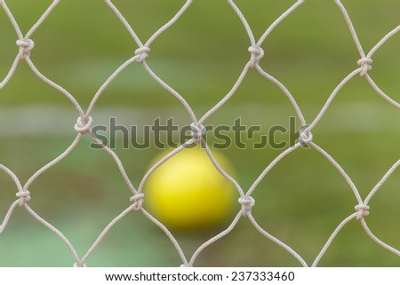Soccer goal net in Soccer stadium - stock photo