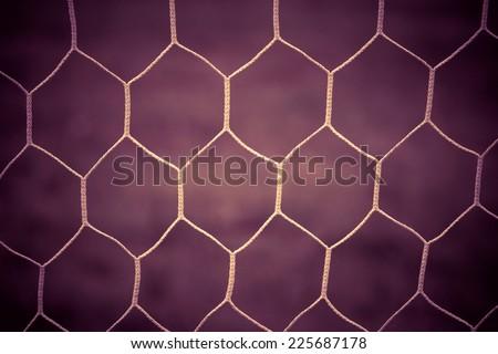 Soccer goal net vintage background - stock photo