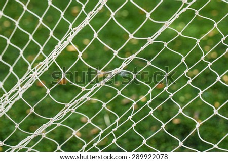 Soccer Goal Net with Green Grass Background - stock photo