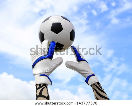Soccer goalkeeper's hands reaching for the ball, with net and sky in the background