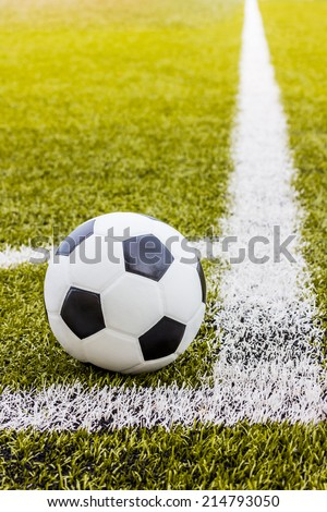Soccer grass field with marking and ball, Sport - stock photo