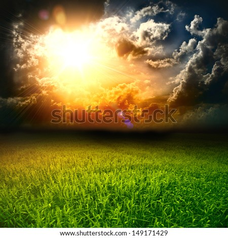 Soccer green field with beautiful sky