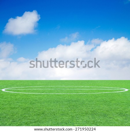 Soccer green grass field at the background of the sky - stock photo