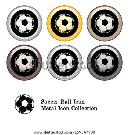 Soccer Icon Metal Icon Set.  Raster version. - stock photo