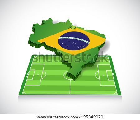 soccer in brazil. map and field illustration design over a white background - stock photo