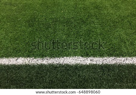 Soccer line in green grass of soccer field.