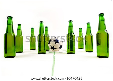 Soccer match with cold, fresh beer bottles