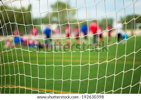 Soccer Match with selective focus for Sports Backgrounds - stock photo