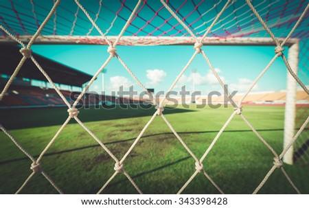 soccer net  at soccer stadium , vintage - stock photo