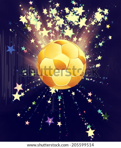 Soccer of football ball on abstract background with shining stars. - stock photo