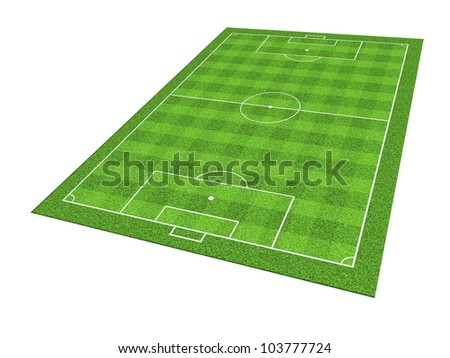 Soccer or football field isolate on white background - stock photo