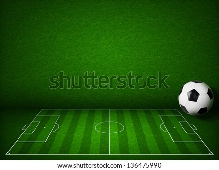 Soccer or football field or pitch side view with ball - stock photo