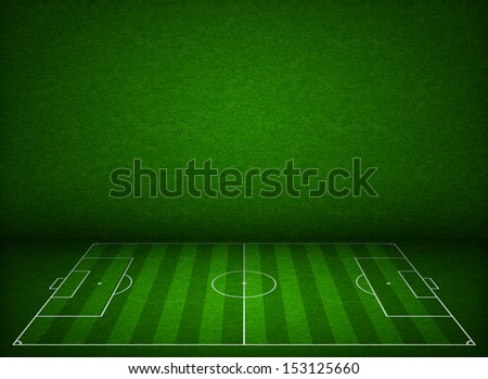 Soccer or football field or pitch side view with proper markings and proportions according standards - stock photo