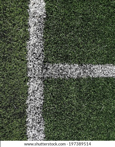 Soccer or football field with white Limit lines by square shape (high resolution) - stock photo
