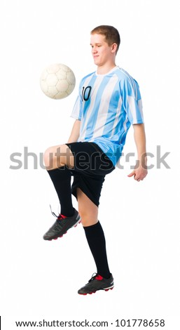Soccer player control a ball with his thigh. - stock photo
