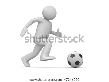 Soccer player (3d isolated characters on white background, sports series) - stock photo