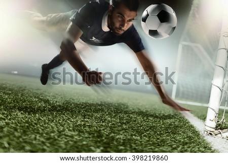 Soccer player heading soccer ball - stock photo