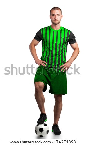 Soccer player in a green dress