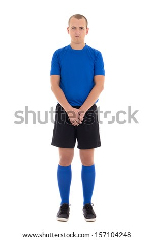 soccer player in blue uniform full length isolated on white background - stock photo