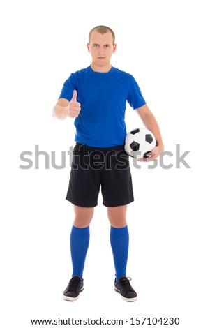 soccer player in blue uniform with a ball thumbs up on white background