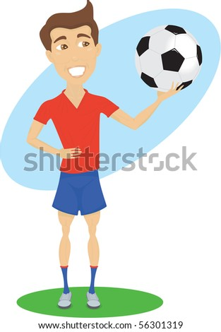 Soccer player is holding the ball
