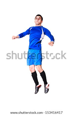 soccer player is jumping, isolated on white background