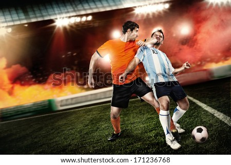 soccer player kicked an elbow to the face other player at the stadium. Not fair play - stock photo