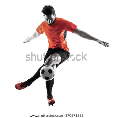 Soccer player Man Isolated silhouette - stock photo
