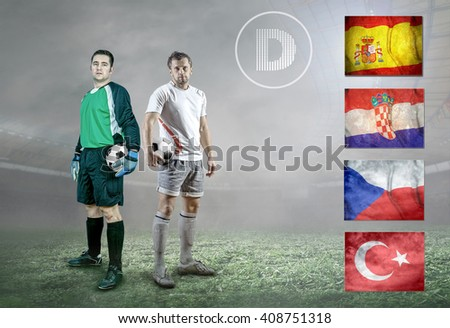 Soccer player on field. Group of national teams. - stock photo