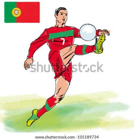 Soccer player representative Portugal. - stock photo