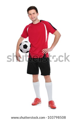 soccer player with a ball on white background - stock photo