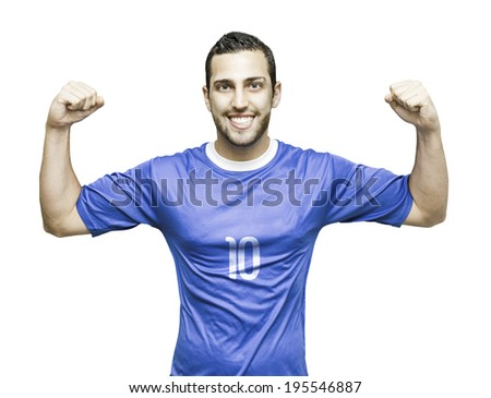 Soccer player with a blue shirt celebrates on white background