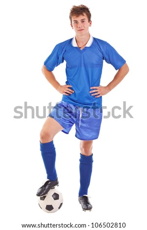 Soccer player with ball, full length, isolated on white