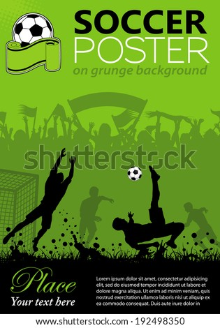 Soccer Poster with Players and Fans on grunge background, element for design, illustration