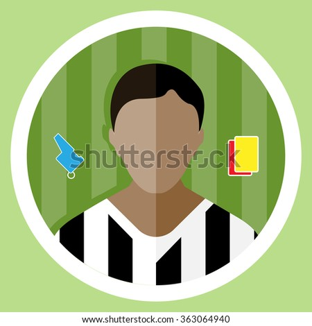 Soccer Referee flat circular icon on a green playground. Referee Tools Used in Soccer Game - Whistle and Yellow and Red Cards. Raster digital illustration.