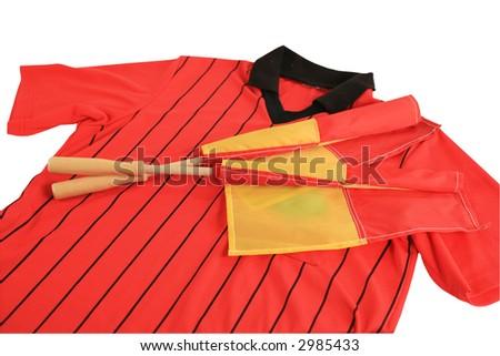 Soccer referee red shirt and flags isolated with clipping path - stock photo