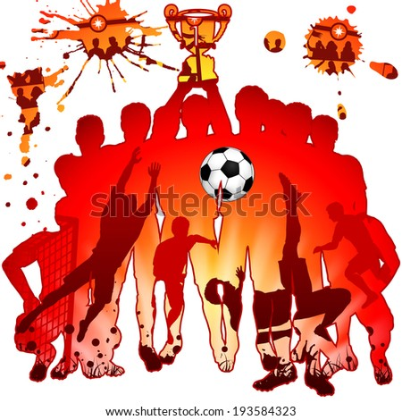 Soccer Silhouettes with Players, Fans and Winning Team, illustration